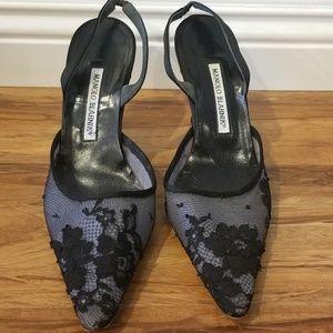 Manolo Blahnik lace satin pointy toe heels  38/8